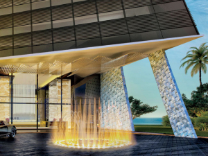 Rendering of the entrance of Muse Residences in Sunny Isles Beach. The building will feature custom artworks by Helidon Xhixha in every unit
