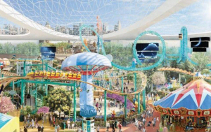 Though centered around a mall, the proposed American Dream Miami would also have a Ferris wheel, roller coaster, and 500-foot-tall observation tower. Most of it would be enclosed by a dome shown here in the artist's rendering of the theme park. Proposed for Northwest Miami-Dade County, the project comes from the developer behind Minnesota's Mall of America