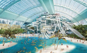 """Plans for a water park at the American Dream Miami entertainment complex include 20 different """"slides and water treatments,"""" and the world's tallest indoor bungee tower. Proposed for Northwest Miami-Dade, the complex would be the largest mall in the United States. Proposal by developer Triple Five"""
