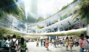 """A rendering of the Miami Innovation District project shows a street view of the public spaces and """"cloud"""" layer, or elevated public space (Rendering provided by Innovate Development Group)"""