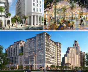 Clockwise from left: Renderings of Paseo de la Riviera, a curbless Giralda Avenue and the Mediterranean Village at Ponce Circle