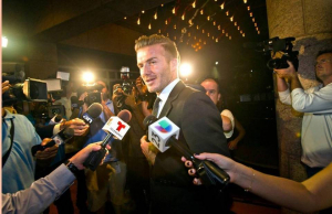 Soccer star David Beckham arrives for an event at the Adrienne Arsht Center in February 2014 (PHOTO CREDIT: PATRICK FARRELL, MIAMI HERALD STAFF)