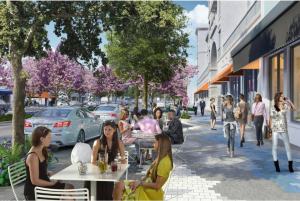 A rendering of a redesigned Miracle Mile streetscape showing wider sidewalks, a new paving pattern recalling the sky, parallel parking instead of angled parking, and new trees. (Credit: Cooper, Robertson & Partners - City of Coral Gables)
