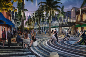 A rendering shows restaurant row on Giralda Avenue rebuilt without curbs and with trees in the middle of the street, in the fashion of a European plaza. Bright street pavers describe concentric circles resembling ripples in a puddle, while LED lights overhead are designed to recall falling raindrops. (Credit: Cooper, Robertson & Partners - City of Coral Gables)